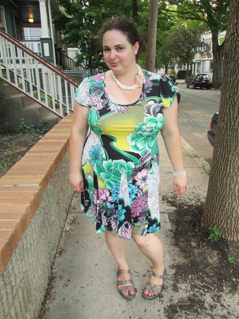 green multi print floral plus size dress white mark