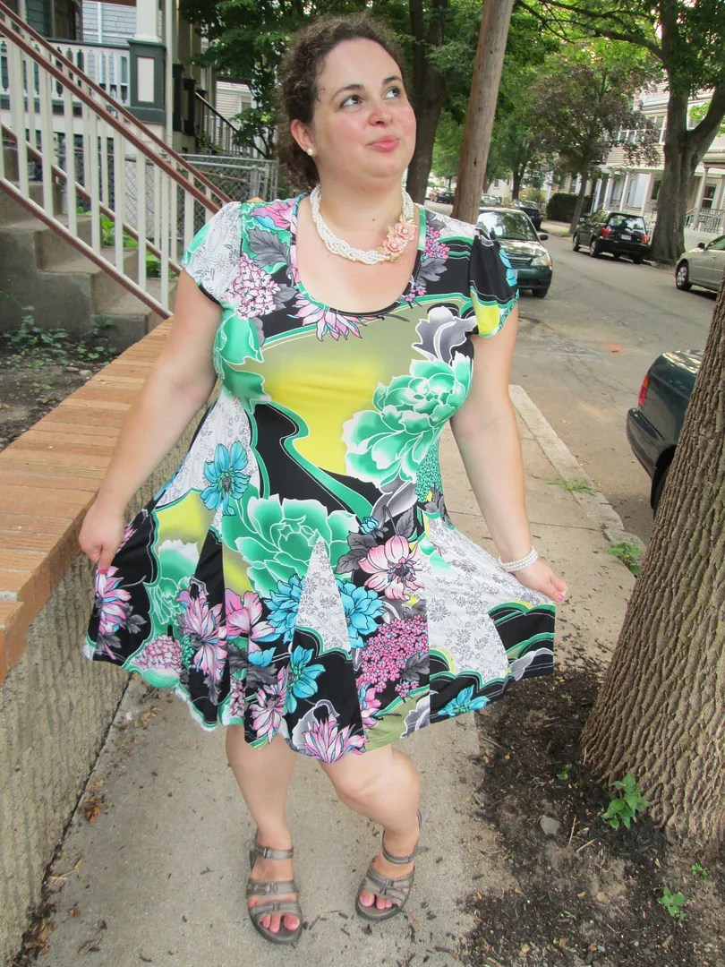 plus size green, black, and pink multi-print dress