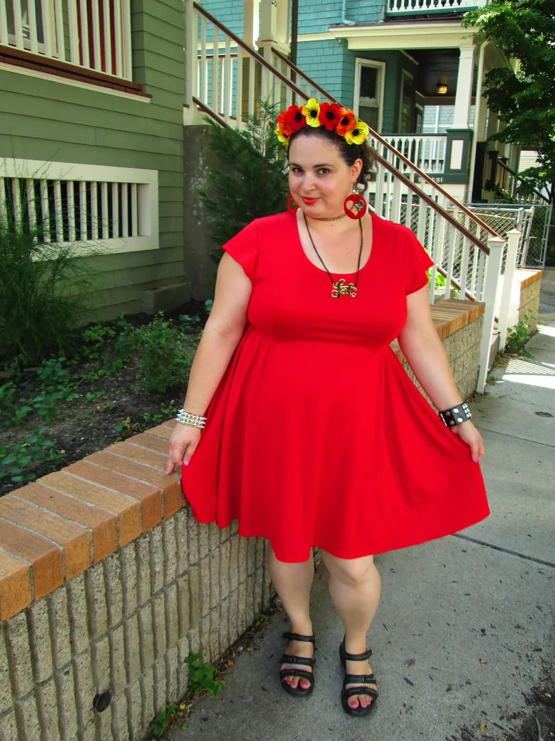 plus size red dress and flower crown