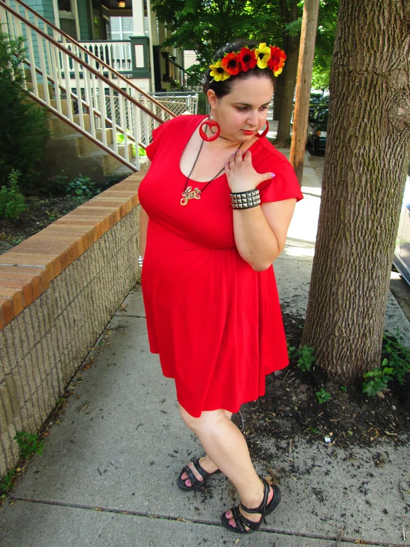 plus size outfit with red dress and floral crown