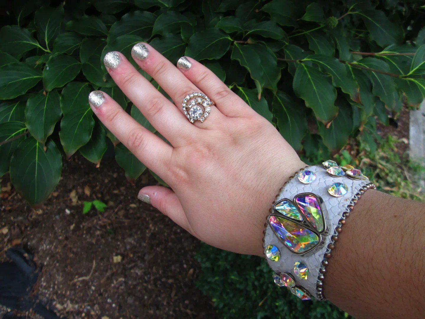 plus size rhinestone ring and bracelet