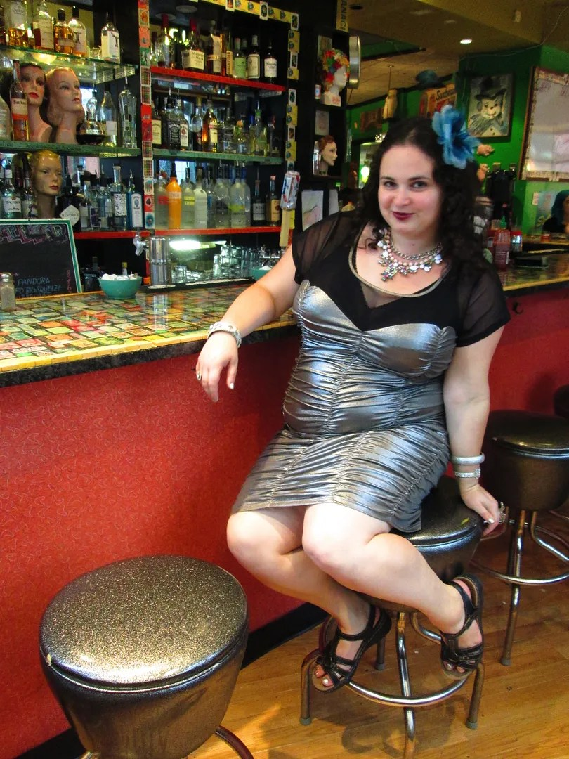 plus size silver retro metallic dress