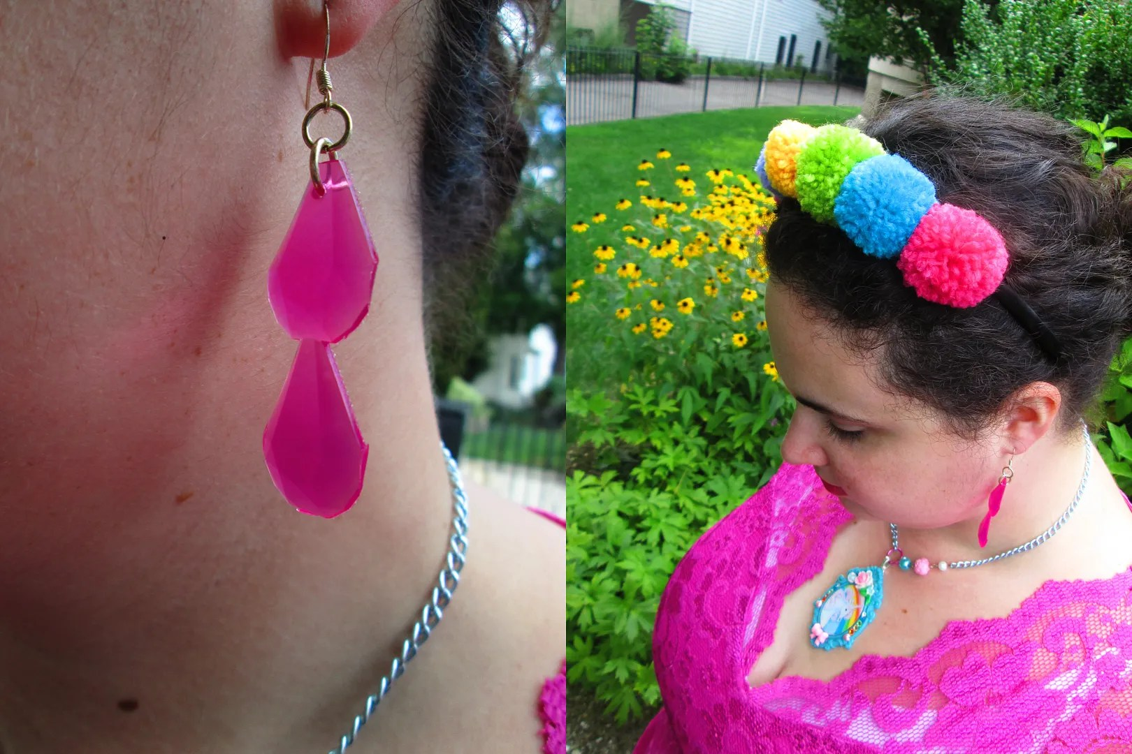 plus size outfit hot pink asos curve dress and rainbow pom-pom headband