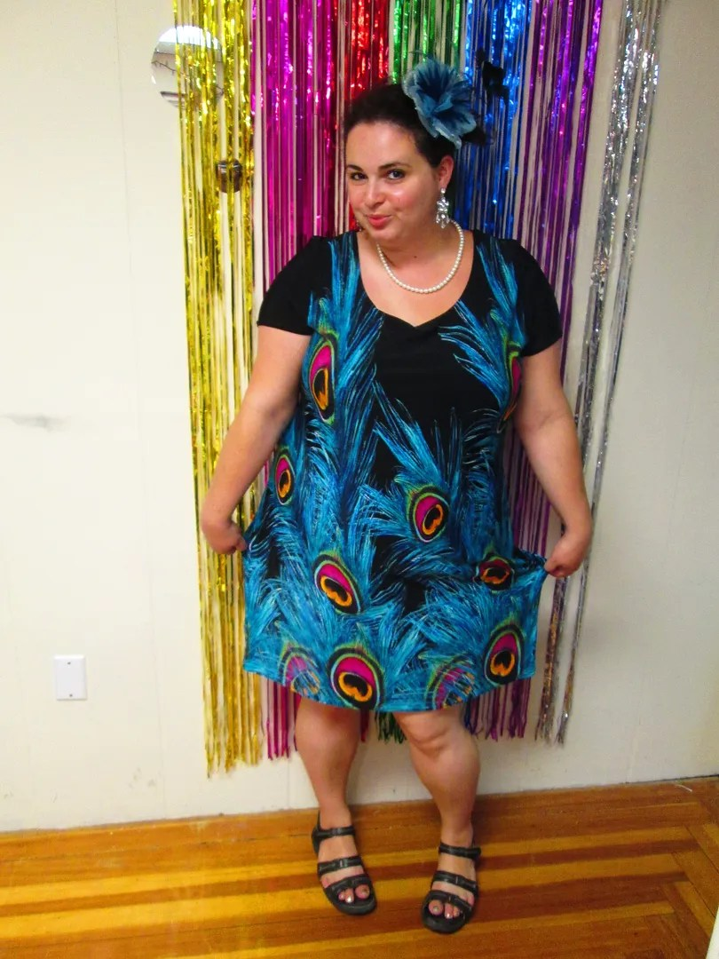 plus size black and blue peacock dress