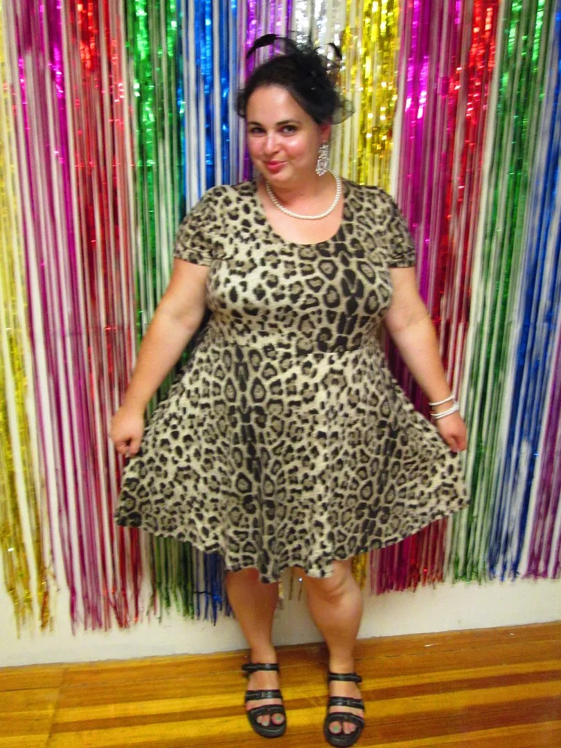 plus size outfit leopard skater dress with pearls