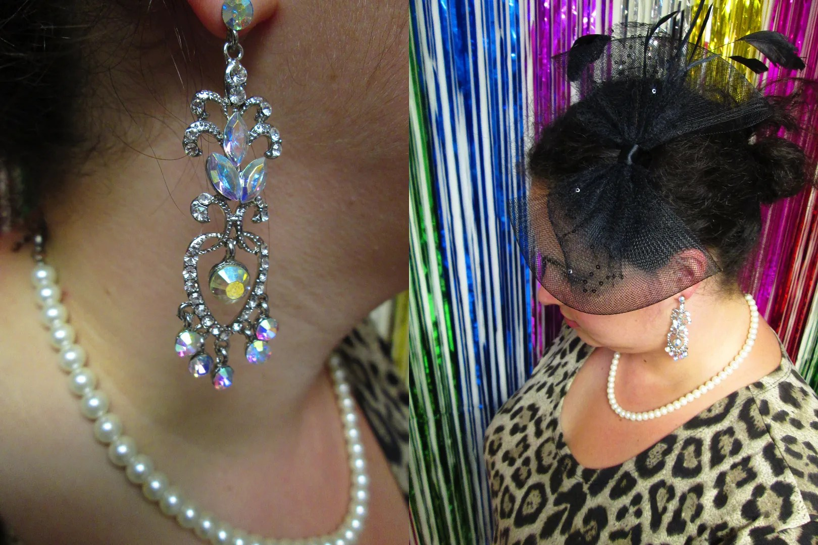 black bow fascinator with feathers, pearl necklace, and rhinestone statement earrings