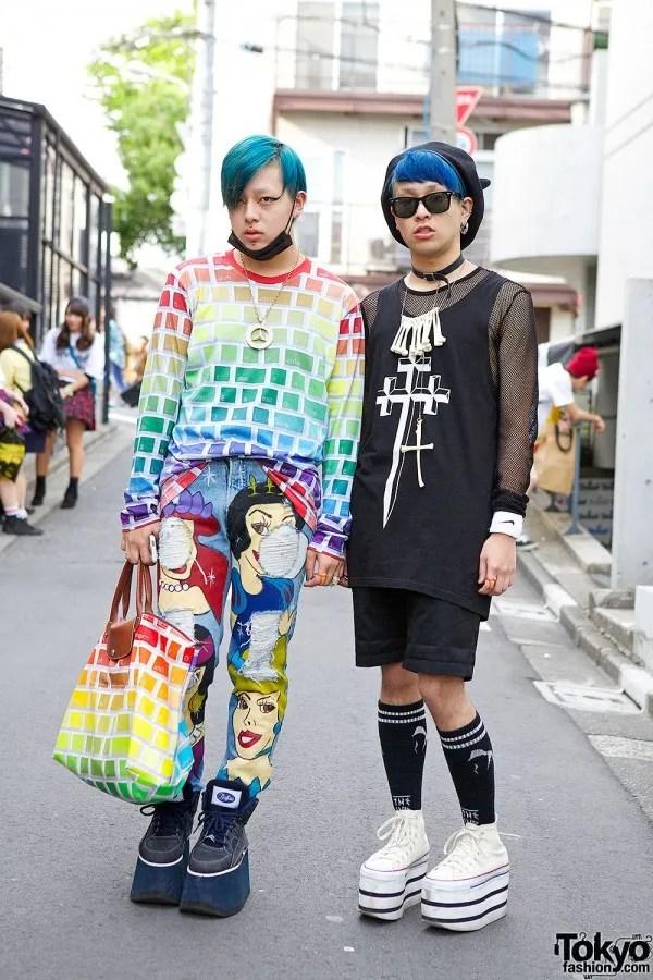 tokyo fashion harajuku men's fashion two outfits - one rainbowy and one goth