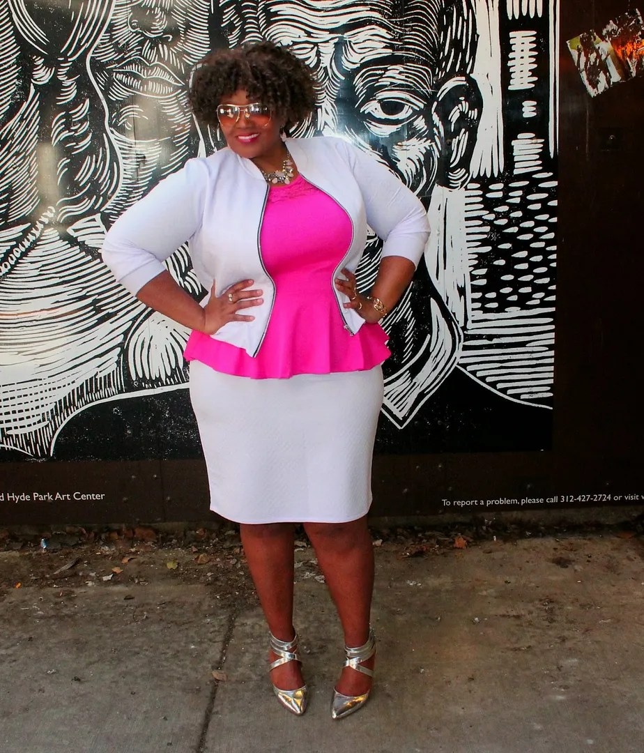 plus size outfit pink peplum top, white jacket and white pencil skirt