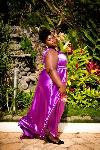 plus size long orchid purple satin dress outfit