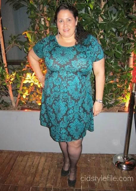 plus size blue and black damask dress
