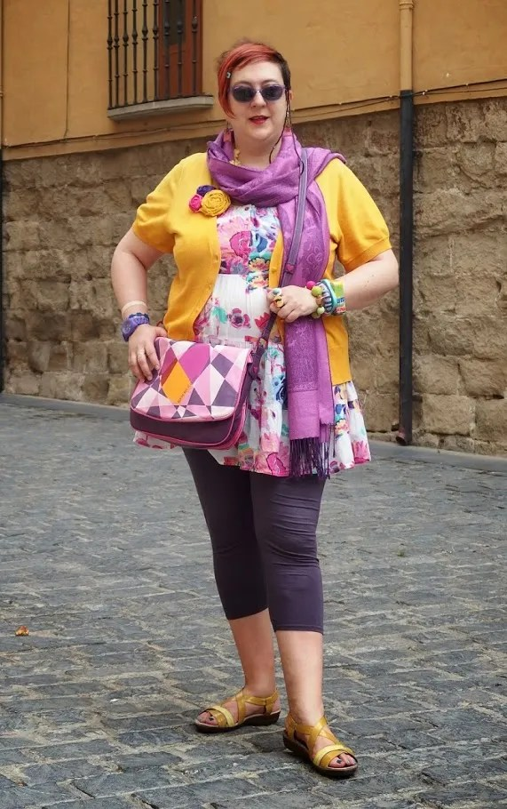 plus size yellow and orchid purple outfit