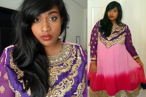plus size outfit pink and purple and gold indian bangladeshi dress