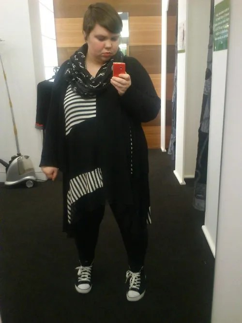 black and white lagenlook plus size striped outfit