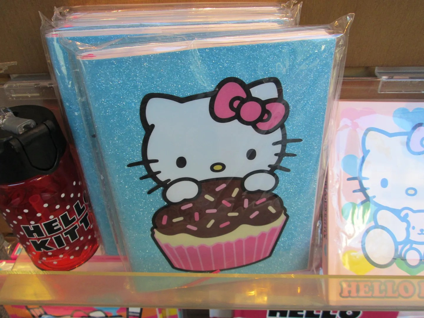glitter hello kitty notebook on bookstore shelf