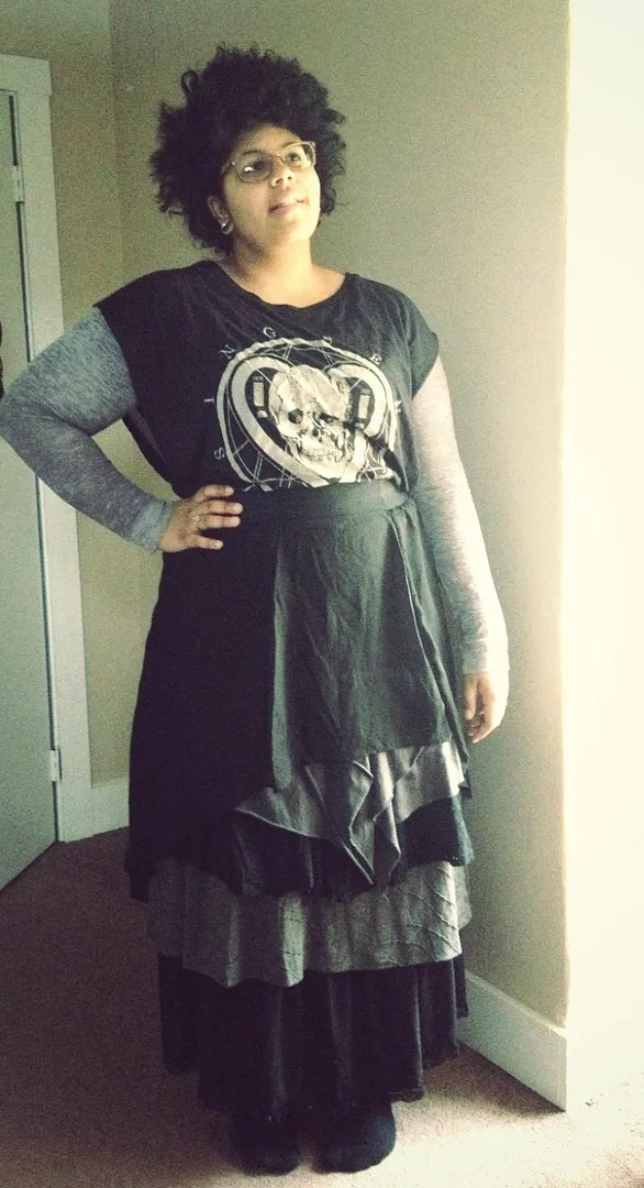 plus size black and gray layered dark mori girl outfit