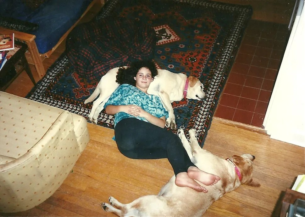 girl lying on one yellow lab with feet on second yellow lab