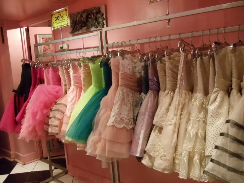 rack of floofy betsey johnson dresses