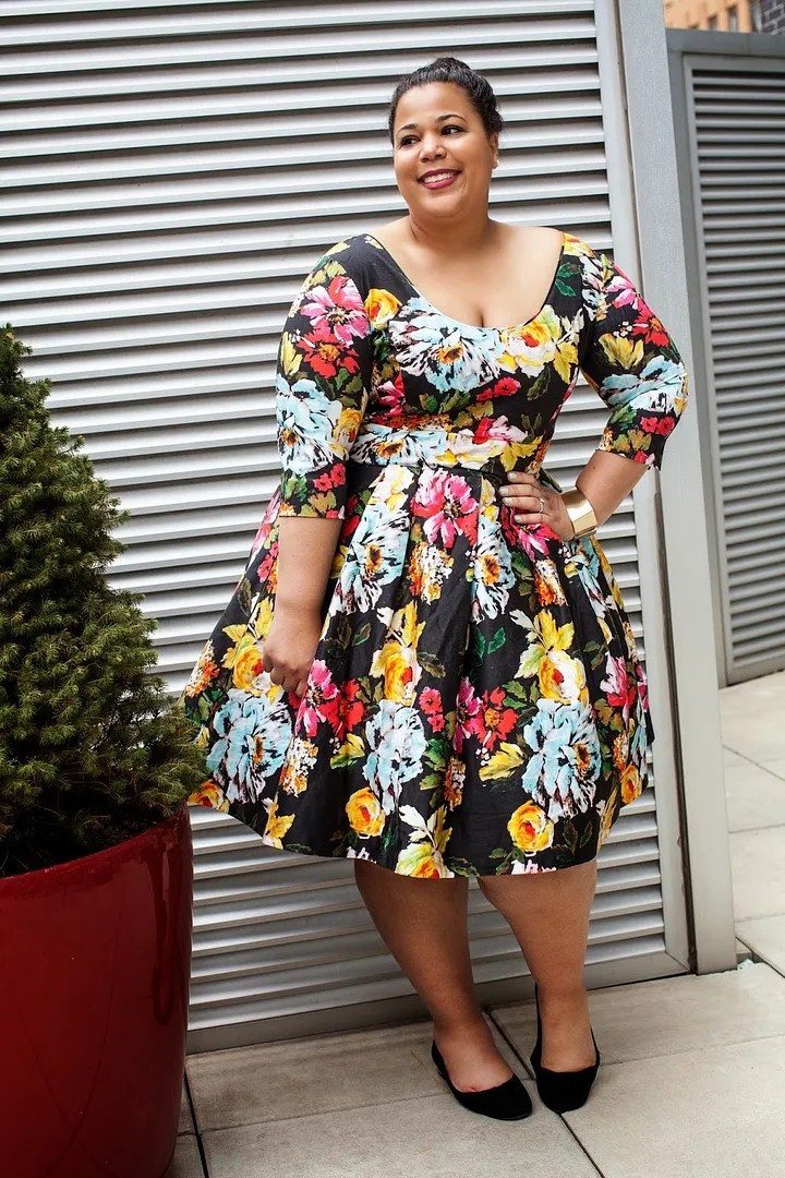 gorgeous plus size floral dress black with red, yellow, and blue flowers
