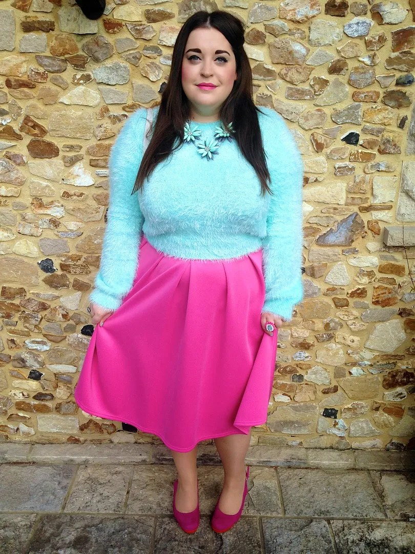 plus size outfit with hot pink midi skirt, baby blue fuzzy sweater