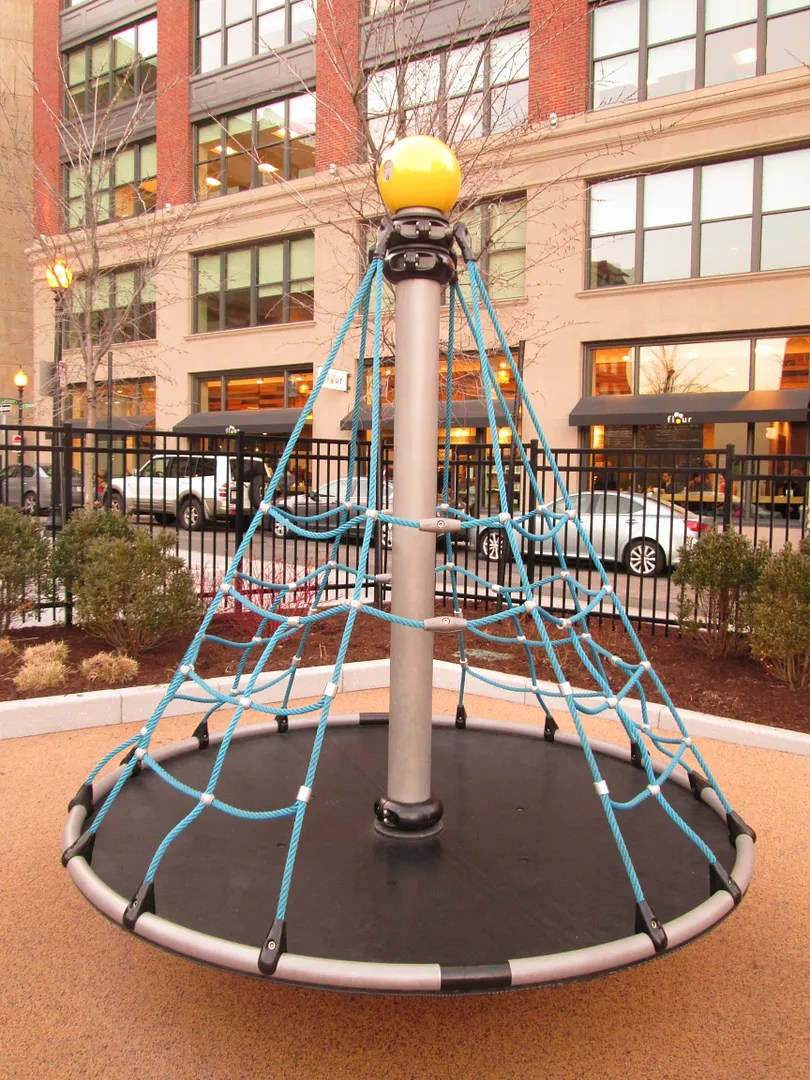 metal, rope, and rubber playground structure