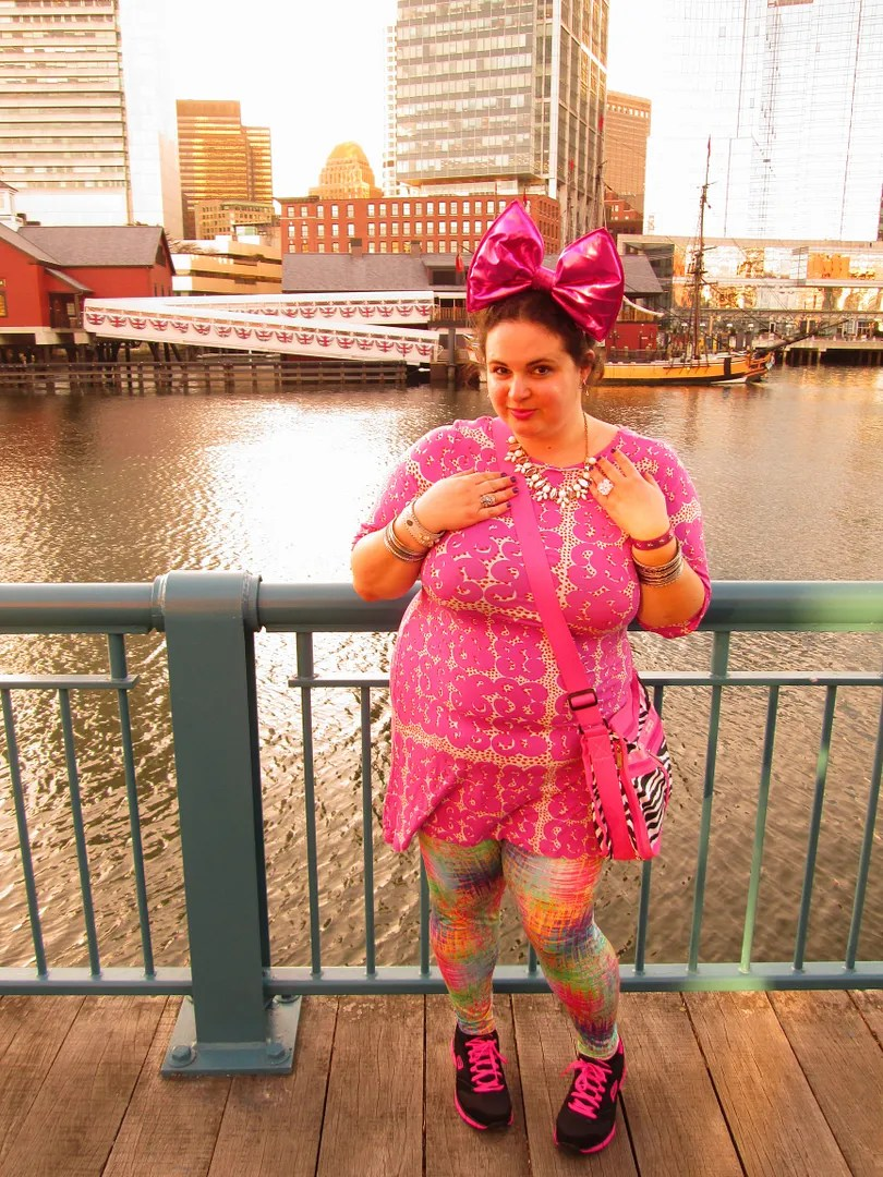 colorful pink and rainbow marimekko and domino dollhouse plus size outfit