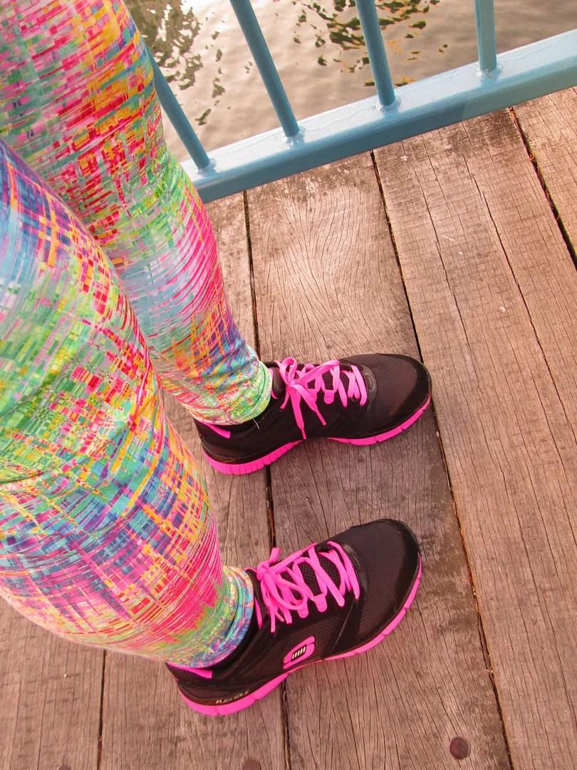 rainbow digital print domino dollhouse leggings and pink and black skechers sneakers