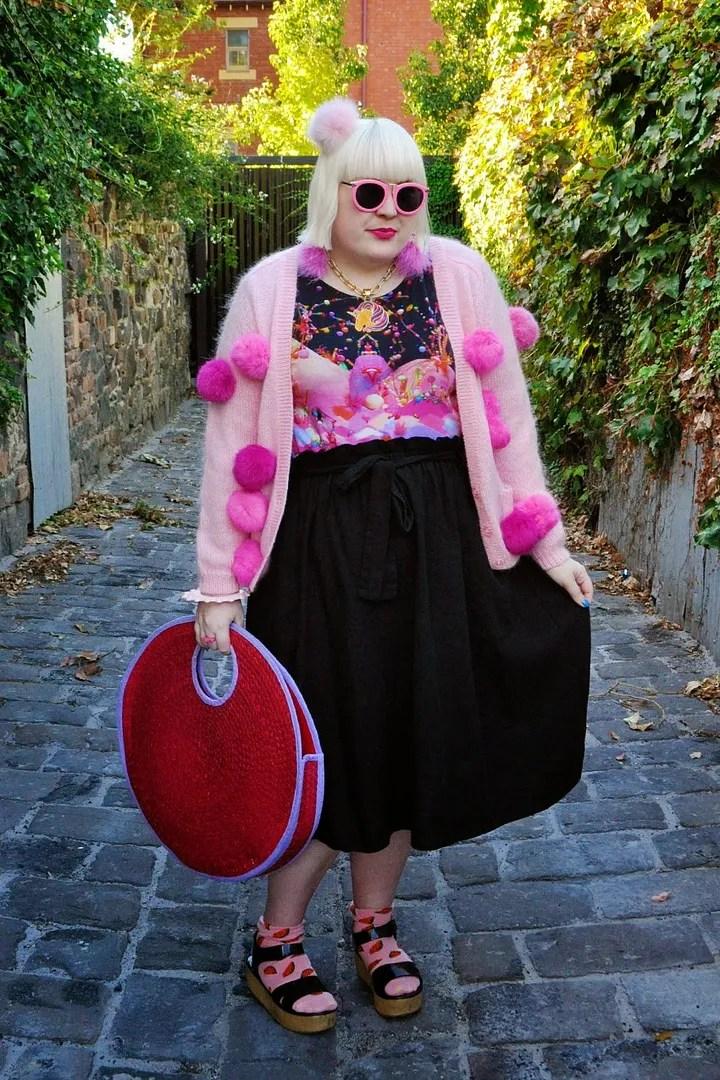 plus size kawaii outfit with pink pom-pom sweater