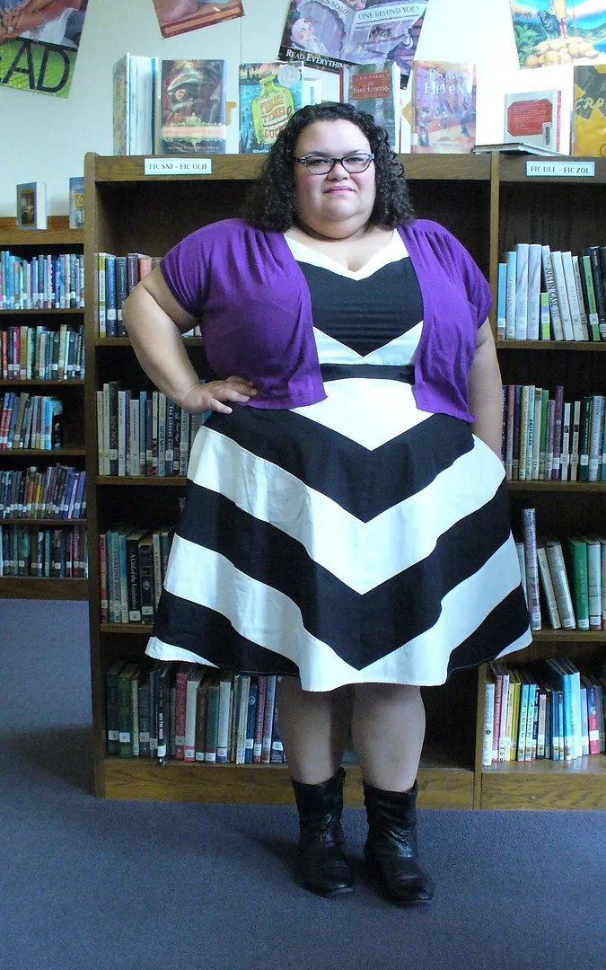 plus size black and white chevron dress with purple bolero