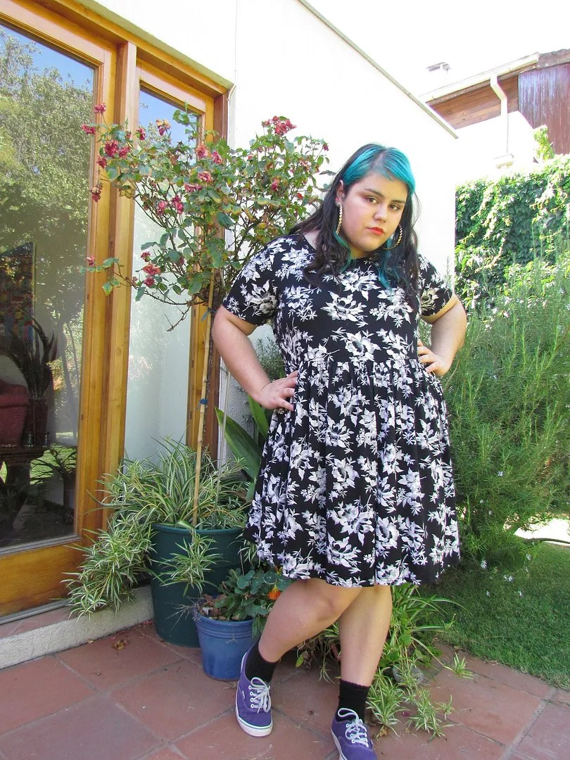 plus size outfit with black and white rose floral dress and blue hair