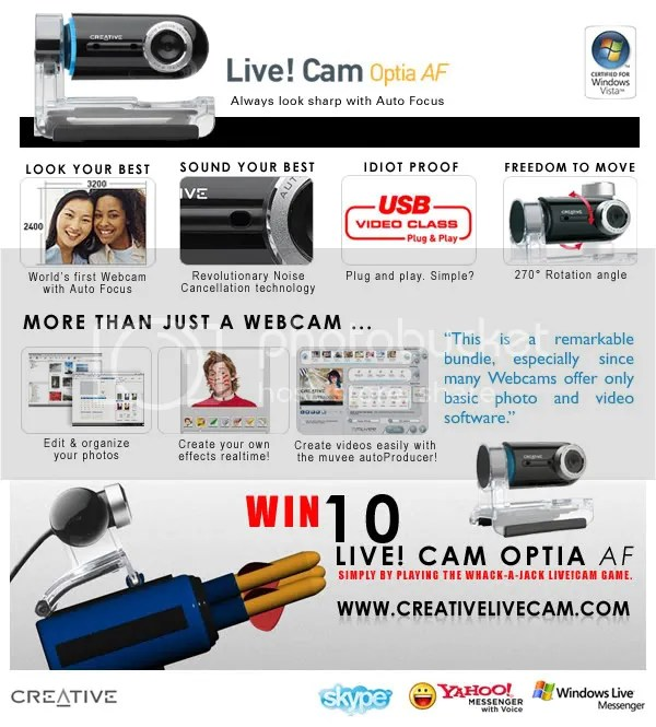 Play and win a Creative LIVE!CAM Optia AF