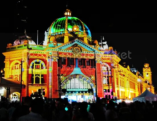Melbourne White Night Flinder St Station