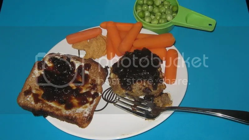 Leftover turkey burger pattie w/ onion chutney, toast w/ laughing cow wedge and chutney