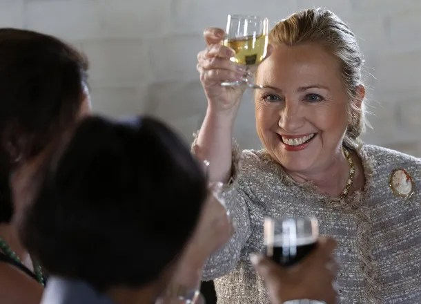 Hilliary Drinking Wine with other Elitist
