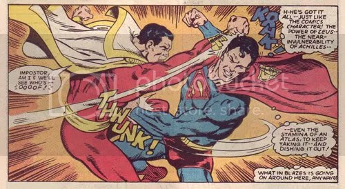 Captain Marvel kicking Superman's arse in All-Star Squadron #37