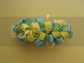Blue and yellow bow