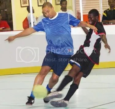 Action in the Mens Indoor Five-a-Side Football League