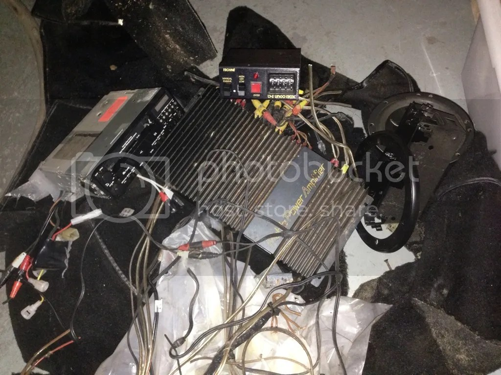 hight resolution of if it helps here is the pile of wiring and components i removed with my ungo and stereo cleansing in my 84 the box is top center