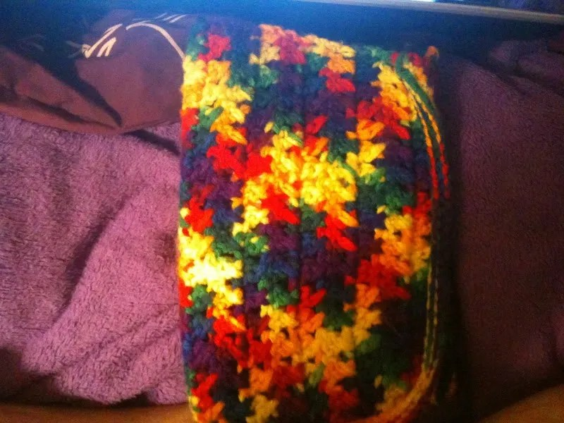 rainbow crochet hook case, closed and viewed from outside