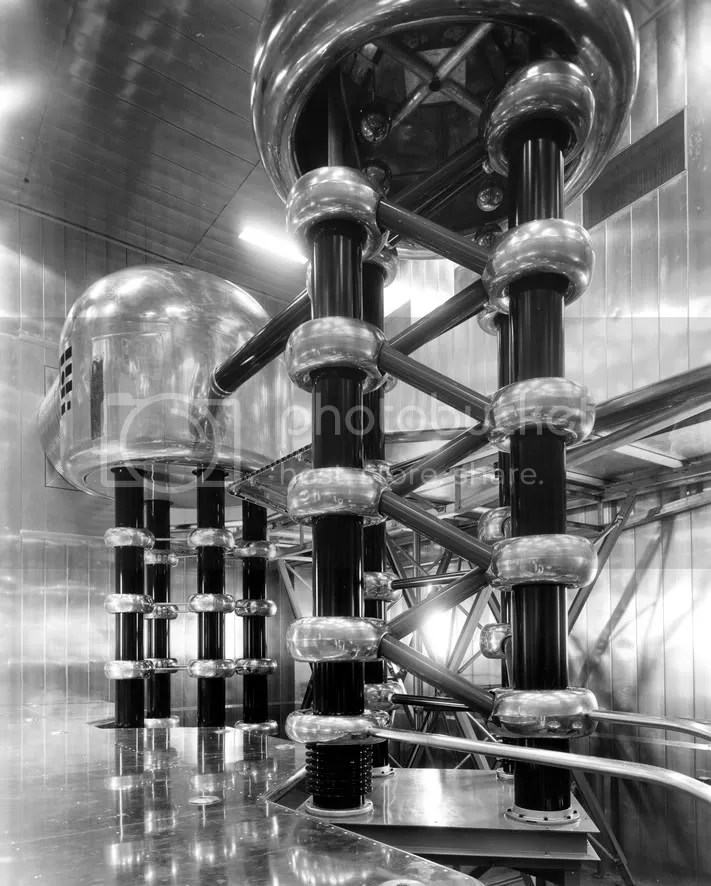 This 750-kv Cockcroft-Walton generator was used as the first stage in accelerating ZGS protons. (Archival Photographic Files, apf digital item number apf2-00486, Special Collections Research Center, University of Chicago Library)