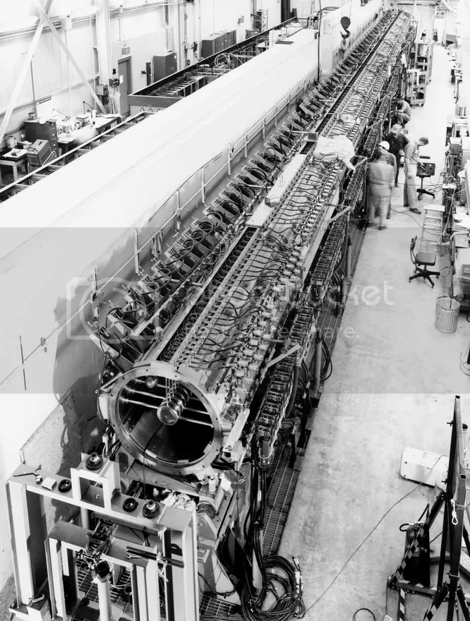 The 110-foot, 50 MeV linear accelerator used to feed accelerated protons into ZGS ring. (Archival Photographic Files, apf digital item number apf2-00488, Special Collections Research Center, University of Chicago Library)