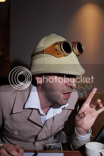 Professor Elemental serenades guests at his Mad Tea Party. Image courtesy of Michael Salerno.