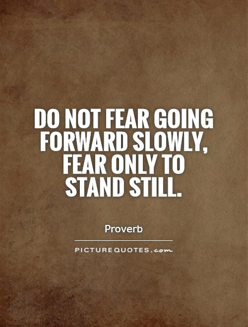 Do Not Fear Going Forward Slowly Fear Only To Stand Still