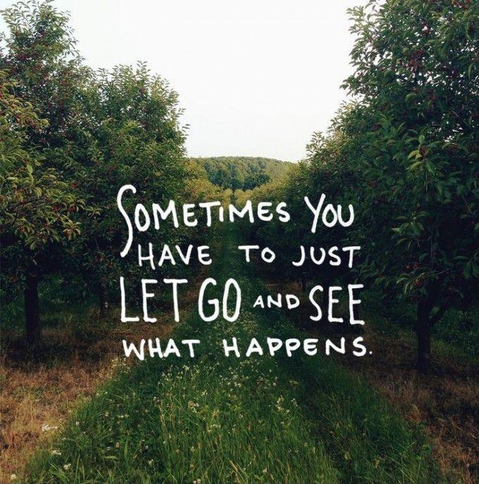 Sometimes you have to just let it go and see what happens   Picture Quotes