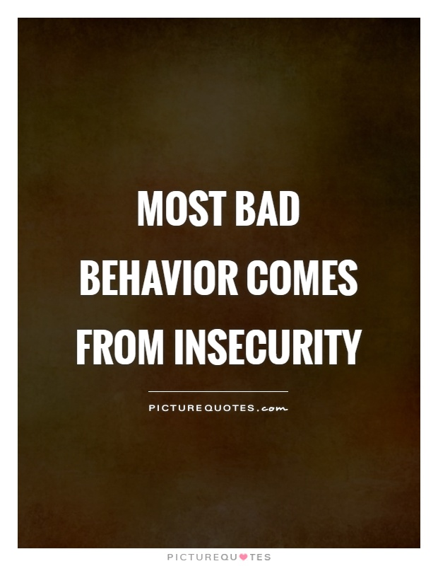 Most bad behavior comes from insecurity Picture Quote #1