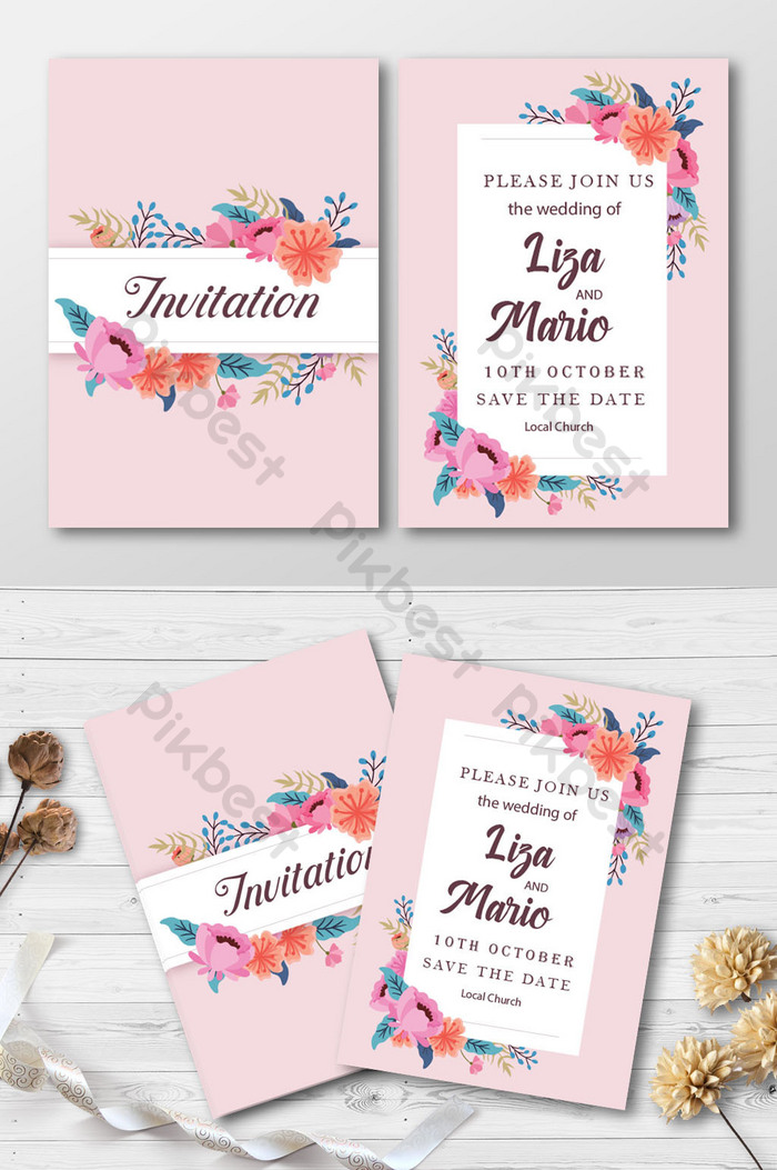 Mock Up Undangan : undangan, Floral, Style, Wedding, Invitation, Mockup, Download, Pikbest