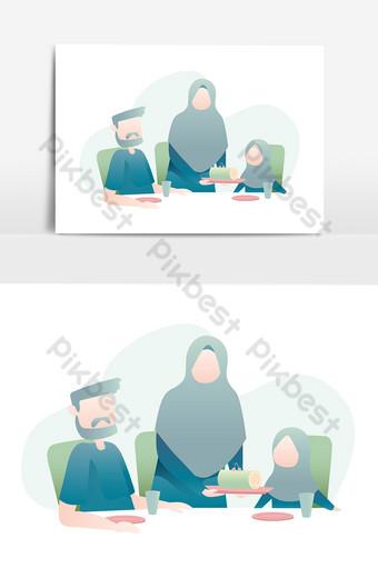 Keluarga Muslim Png : keluarga, muslim, Muslim, Family, Together, Table, Illustration, Images, Download, Pikbest