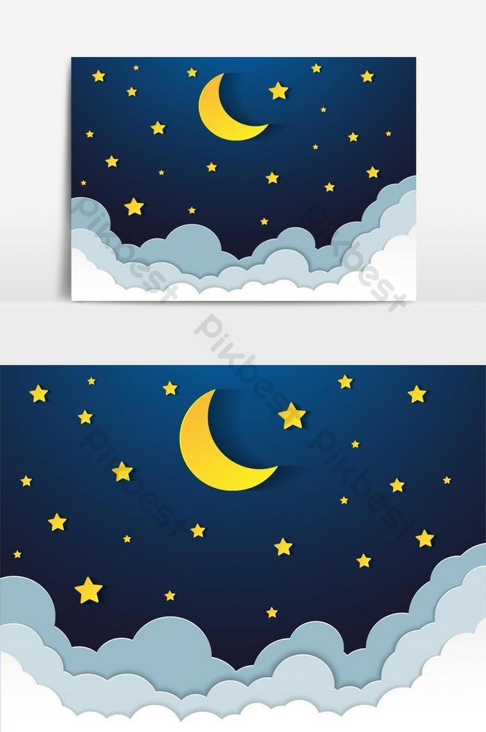 Gambar Bintang Kartun : gambar, bintang, kartun, Langit, Malam, Dengan, Bintang, Bulan, Elemen, Grafik, Percuma, Turun, Pikbest