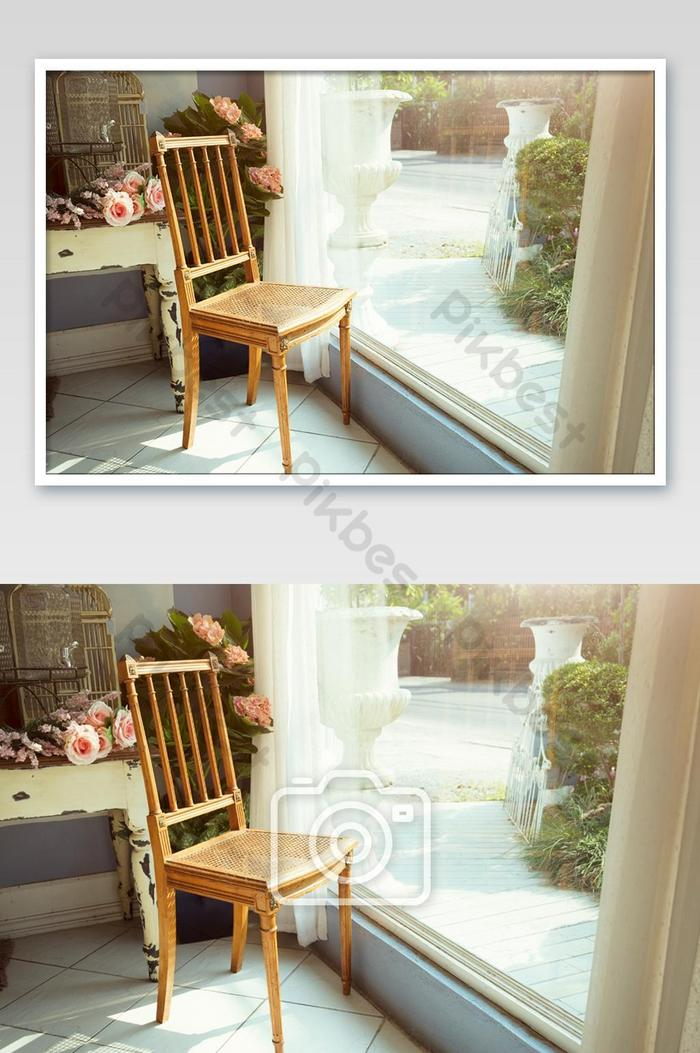 Classic Wooden Chair Beside The Big Mirror Window In Vintage Decorated Room Felling Relax Photo Jpg Free Download Pikbest