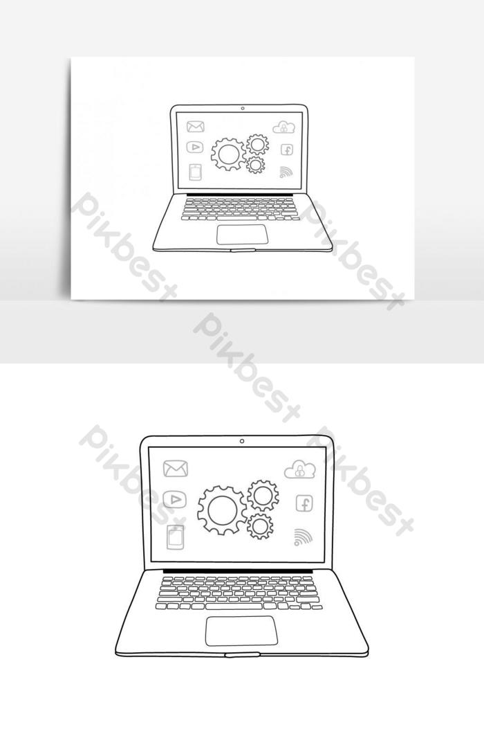 Laptop Png Vector : laptop, vector, Laptop, Drawn, Style, Vector, Graphic, Element, Images, Download, Pikbest