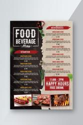 Food Beverage Menu With Paper and Wood Background flyer PSD Free Download Pikbest